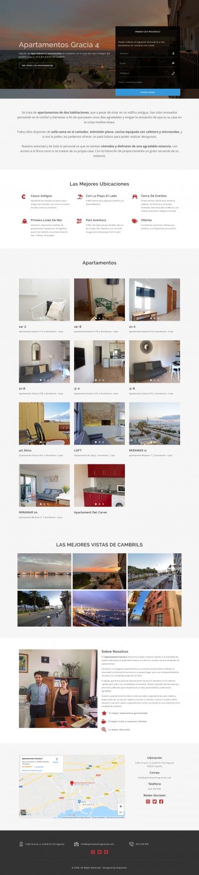 Diseño web Landing page para empresa de Apartamentos en Cambrils