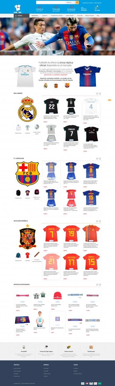 Diseño tienda virtual y sincronización con amazon de tienda de camisetas de futbol